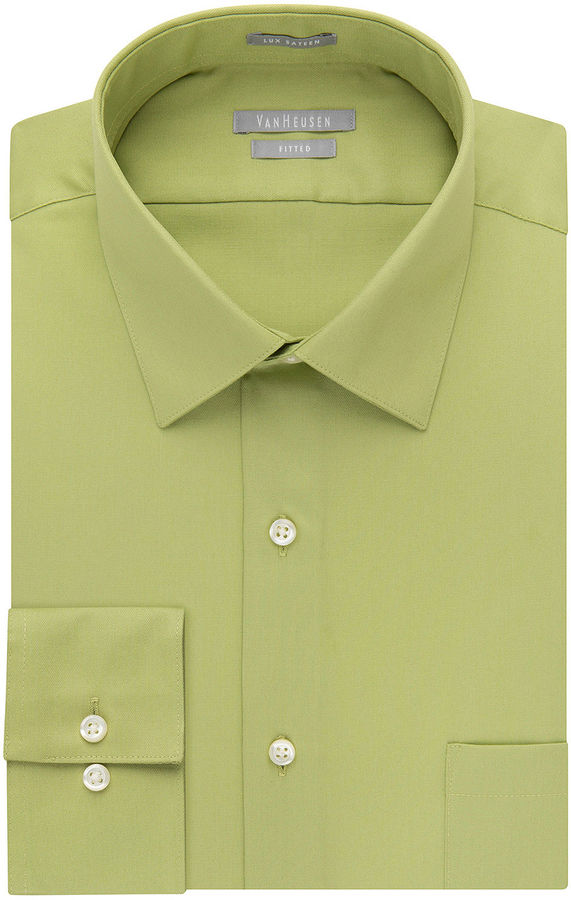 Van heusen no iron lux sateen dress shirt fitted for Mens no iron dress shirts