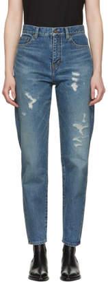 Saint Laurent Blue Baggy Repaired Jeans