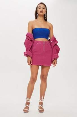 Topshop Pink Corduroy Zip-Up Skirt