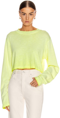 Cotton Citizen Tokyo Crop Long Sleeve Tee in Fluorescent Yellow | FWRD