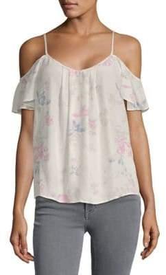 Joie Adorlee Silk Floral Cold-Shoulder Top