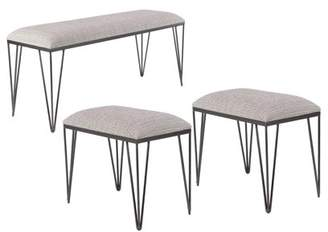 DecMode Decmode Set of 3 Metal and Fabric Cushioned Rectangular Benches, Gray