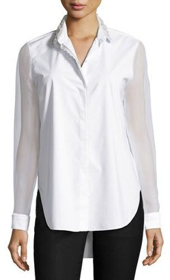 Elie Tahari Delma Embellished Button-Front Blouse, White $298 thestylecure.com