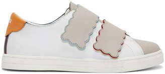 Fendi Multicolor Scalloped Double Strap Sneakers