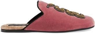 Gucci Velvet evening slipper with snake