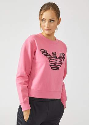 Emporio Armani Cotton Sweatshirt With Embroidered Scribble Logo