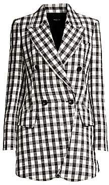 Derek Lam Women's Plaid Linen-Blend Blazer Jacket