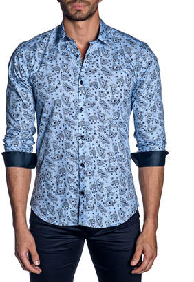 Jared Lang Men's Modern-Fit Paisley Long-Sleeve Shirt with Contrast Cuffs