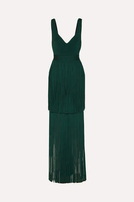 Herve Leger Fringed Bandage Gown - Forest green