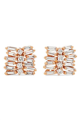Suzanne Kalan 18-karat Rose And White Gold Diamond Earrings - Rose gold