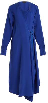 Joseph Arran Waist Tie Draped Silk Crepe Dress - Womens - Blue