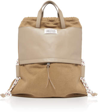 Maison Margiela Faux-Leather And Canvas Convertible Backpack