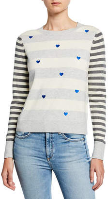 LISA TODD Skip A Beat Multi-Stripe Cotton/Cashmere Sweater w/ Embroidered Hearts