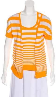 Celine Stripe Short Sleeve Top Set