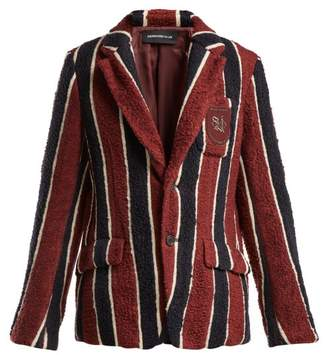 Undercover - Striped Bouclé Blazer - Womens - Burgundy