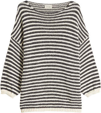 American Vintage Striped Pullover with Cotton and Linen