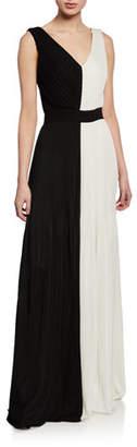 St. John Colorblock V-Neck Sleeveless Fluid Plisse Knit Gown