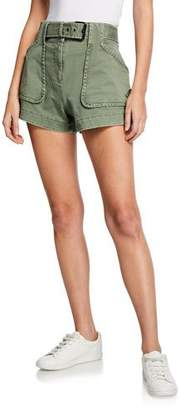 Derek Lam 10 Crosby Belted Patch-Pocket Utility Shorts
