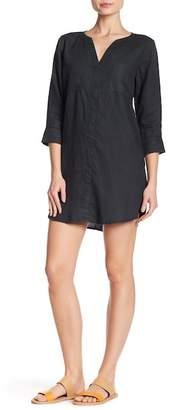 Allen Allen 3/4 Length Sleeve Pocket Linen Dress