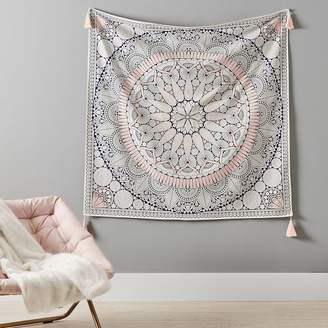Pottery Barn Teen Printed Mandala Tapestry with Tassels, 53&quotx53&quot, Multi