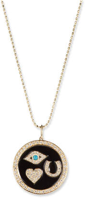 Sydney Evan 14k Gold Diamond & Enamel Luck Medallion Necklace