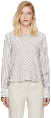 Isabel Marant Ivory and Blue Striped Val Blouse