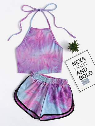 Shein Halter Neck Water Color Crop Top With Ringer Shorts