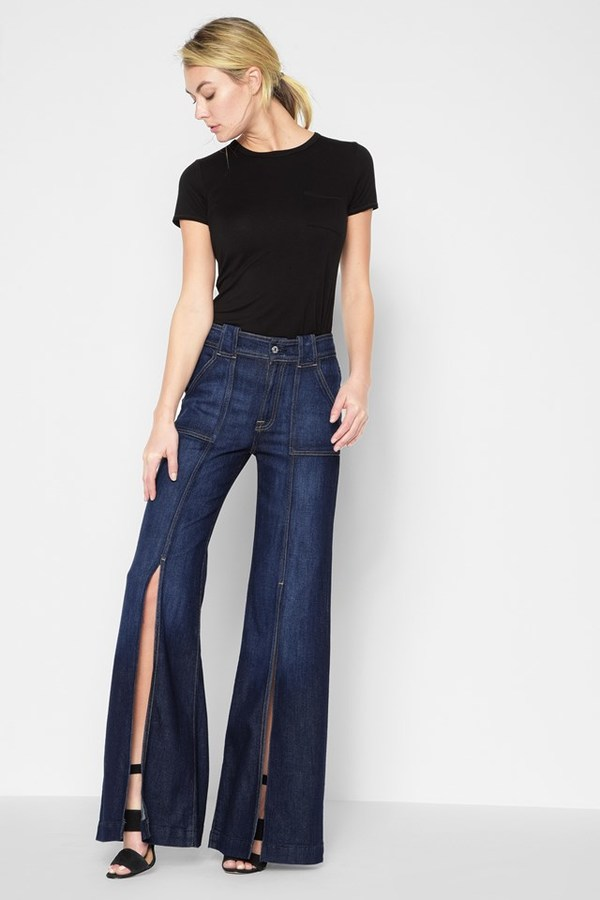 7 For All MankindPalazzo Pant With Front Seam Split In Deep Blue