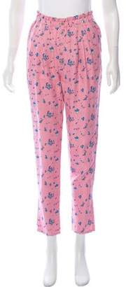 Boy By Band Of Outsiders Silk High-Rise Skinny Pants Pink Silk High-Rise Skinny Pants