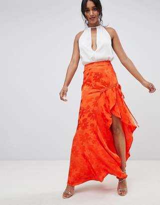 Asos DESIGN jacquard maxi with ruched waist