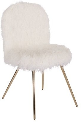 Office Star AVE SIX by Products Julia Chair with White Fur and Gold Legs