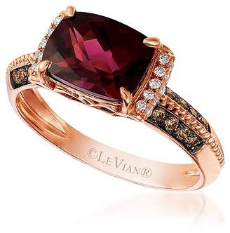 LeVian Le Vian Women's Chocolate & Vanilla Diamond, Raspberry Rhodolite and 14K Strawberry Gold Ring