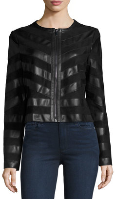 Bagatelle Faux-Leather and Faux-Suede Jacket, Black $169 thestylecure.com