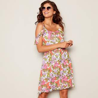Floozie by Frost French Multi-Coloured Floral Print V-Neck Cold Shoulder Beach Dress