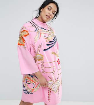 Asos Embroidered Tunic Shift Mini Dress