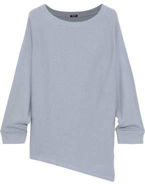 Monrow Asymmetric Ribbed Cotton And Modal-blend Top