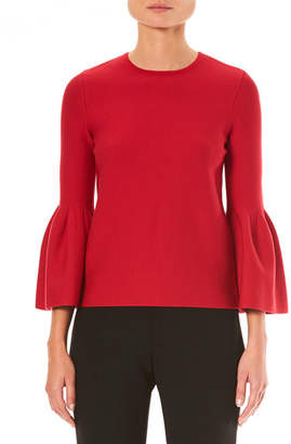Carolina Herrera Crewneck Bell-Sleeve Knit Pullover Sweater