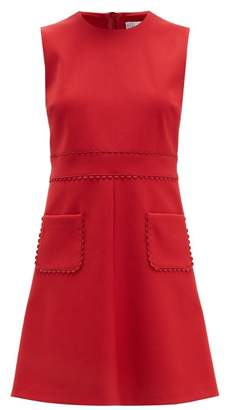 RED Valentino Scalloped Patch Pocket Twill Mini Dress - Womens - Red
