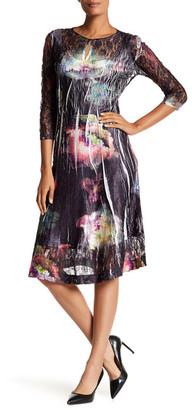 KOMAROV 3/4 Length Sleeve Keyhole Flared Dress $272 thestylecure.com