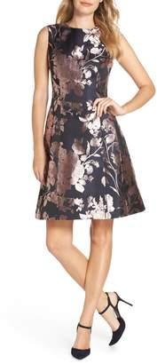 Eliza J Floral Metallic Jacquard Fit & Flare Dress