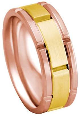 Rolex American Set Co. Men's TWO TONE 14K ROSE YELLOW GOLD INSPIRED 8mm COMFORT FIT WEDDING BAND size 6
