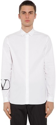 Valentino Vlogo Print Cotton Poplin Shirt
