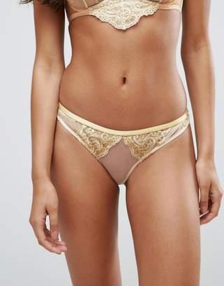 Asos DESIGN BRIDAL Paloma Metallic Gold Embroidered Lace Thong
