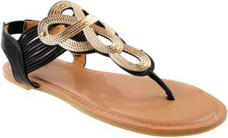 Bamboo Shoes Women's Sonata-95M Slip-On CRP Leather Sandals with Embellished T-Strap 7.5 D(M) US