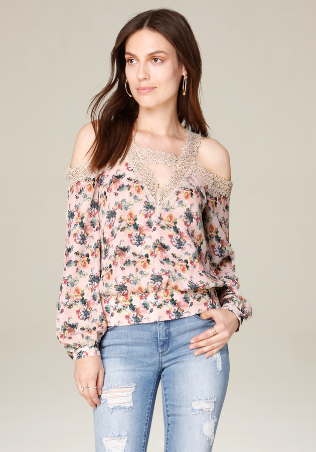 Print & Lace Shoulder Top