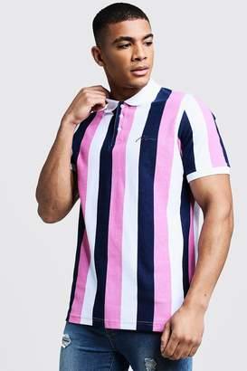 boohoo Man Embroidered Stripe Pique Polo