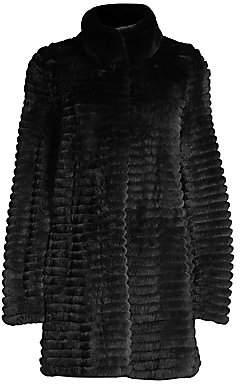 Glamour Puss Glamourpuss Women's Rex Rabbit Fur Corded Coat