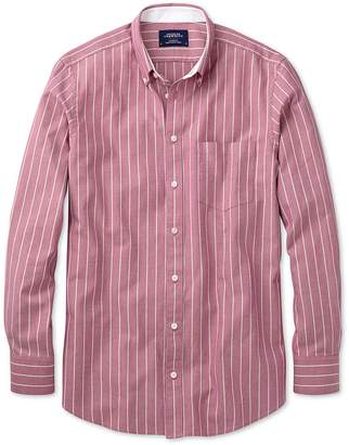 Charles Tyrwhitt Extra Slim Fit Magenta Stripe Washed Oxford Cotton Casual Shirt Single Cuff Size Medium