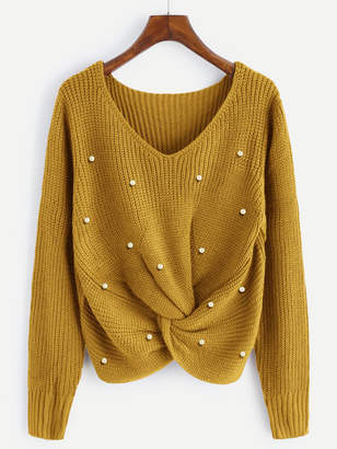 Shein Pearl Beaded Detail Twist Sweater