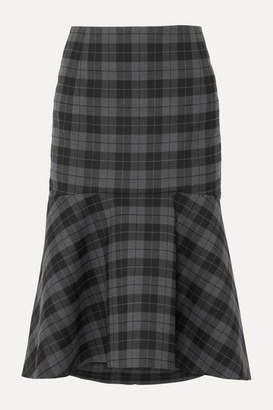 Balenciaga Ruffled Checked Twill Midi Skirt - Gray